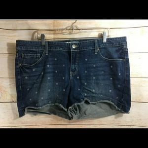 Torrid Denim 20 Stretch Blue Jean Shorts Frayed